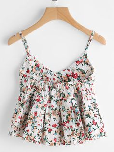 COLROVIE Floral Peplum Cami Top Women Multicolor Ditsy Print Cute Summer Tops 2017 Fashion Sexy V Neck Casual Draped Camisole ** AliExpress Affiliate's Pin. View the item in details by clicking the image Teen Fashion Outfits, Trendy Outfits, Girl Fashion, Fashion Dresses, Cute Outfits, 70s Fashion, Fashion Vintage, Vintage 70s, Fashion Pants