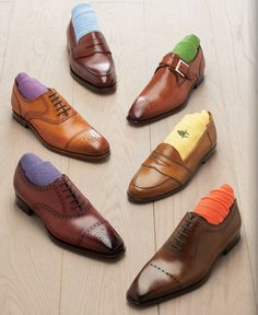 Ready for the summer? Wear your brown dress shoes with bright colorful socks. Shoes from Paul Stuart NYC.