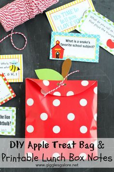 DIY Apple Treat Bag & Printable Lunch Box Notes_Giggles Galore
