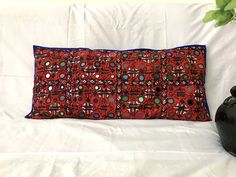 Mirror Work Embroidered Pillow Cover - Home Decor Pillow Case Indian Embroidery, Vintage Embroidery, Traditional Mirrors, Handmade Cushions, Kantha Quilt, Vintage Textiles, Decorative Pillow Covers, Cushion Covers, Pillow Cases