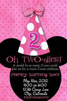 Minnie Mouse Custom Birthday Printable Disney Invitations. May have to use this for Clare's 2nd birthday. One of her favorite shows!
