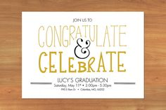 It's almost Graudation Season. Customize this Graduation Party Invitation to match your school colors! By CopperStreetDesignCo
