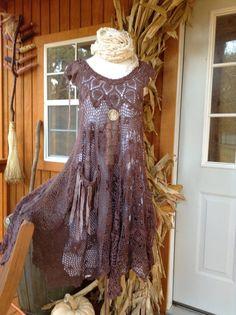 Luv Lucy Crochet  Dress*** Mocha Latte Boho Dress ** gypsy dress antique carved button
