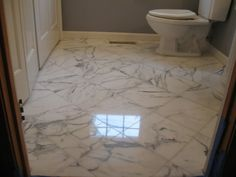 [Bathroom] : Modern Small Bathroom Design Ideas Remodel With Marble Tiles Together With Water Closet Along With White Wooden Door