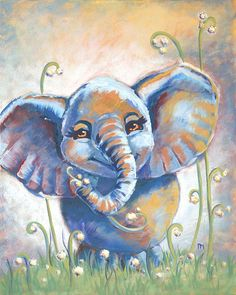 Our happy elephant is a great whimsical addition for any kids room or nursery!  Original Acrylic Painting. Printed on satin finish canvas, hand stretched and re