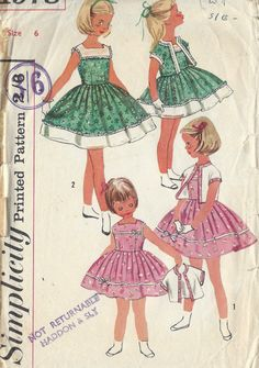 "1957 Childrens Vintage Sewing Pattern S6 C24"" DRESS & JACKET (C10)"
