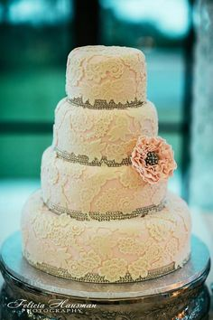 Wedding Cake with lacework and silver edging...    ᘡղbᘠ