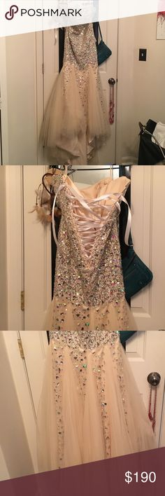custom made prom dress Never worn! I had it custom made but it was a tad too small, lots of gems and a lace up back, mermaid style, champagne colored Dresses Prom