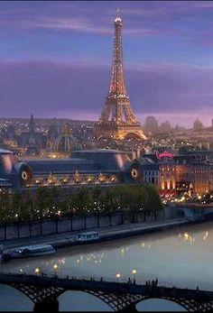 """audreylovesparis: """" Paris at dusk """""""