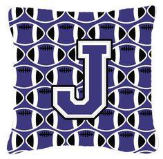 Letter J Football Purple and White Fabric Decorative Pillow CJ1068-JPW1414