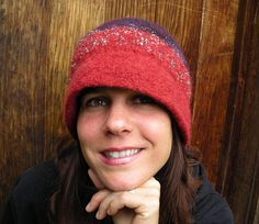 Handknit Felted Red and Blue Hat With Sparkly Novelty Yarn