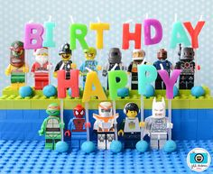Candle holder ideas for a Lego Bday- soo cute