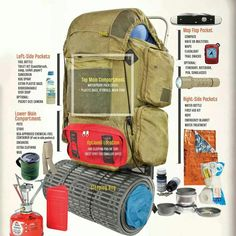How to pack a backpack from bsa backpacking gear, camping equipment, survival knife, Bushcraft Camping, Ultralight Backpacking, Backpacking Tips, Camping Survival, Survival Gear, Camping Hacks, Outdoor Survival, Survival Prepping, Thru Hiking