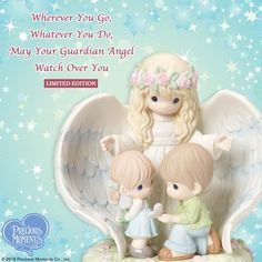 With gloriously detailed pastel wings, an elegant guardian angel surrounds the children under her care with God's protective grace. This Limited Edition figurine is perfect for Easter, families with new babies, collectors and more. — with Lidia Machado. Precious Moments Quotes, Precious Moments Figurines, Angel Protection, Clay Angel, Your Guardian Angel, Grief Support, Confirmation Gifts, My Precious, Stress And Anxiety