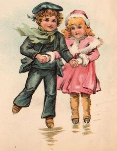 Victorian Graphic - Children Ice Skating - The Graphics Fairy
