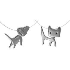 DOG & CAT NECKLACES | Mark Poulin, Sketched, Sterling Silver, Dogs And Cats Necklace, Pet Lovers Pendants, Pets Pendant, Animals, Fresh, Youthful, Teen Gift, Womens Accessory, Cute | UncommonGoods