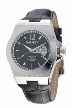 Haurex Italy Women's 8A340DN1 Yacht Moon and Star Black Dial Watch Haurex. $155.00. Second hand, screw down crown. Day and date display in star and moon windows. Luminous hands for easy night reading. Water-resistant to 330 feet (100 m). Full crystal inner bezel