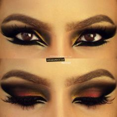 Red Dramatic Arabic Eyeliner / i love love love red on the eyes & this is just gorgeous! Wow! Love it!