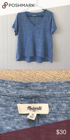 51a2103be5dcb Madewell Heather Blue High Low Linen Top This stylish, heather blue, high  low top