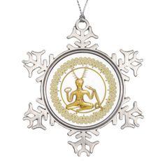 Gold Cernunnos & Spirals -Pewter Ornament 5