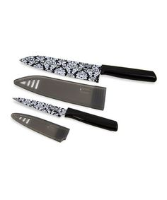 Take a look at this Black & White Damask Knife Set by Kuhn Rikon on #zulily today! @Brittony Vermeer Parker