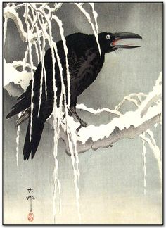 Ohara Koson 小原古邨 Crow perched on a snow covered branch against a grey background. The Crow, Japanese Prints, Japanese Art, Traditional Japanese, Ohara Koson, Quoth The Raven, Art Chinois, Raven Art, Tinta China