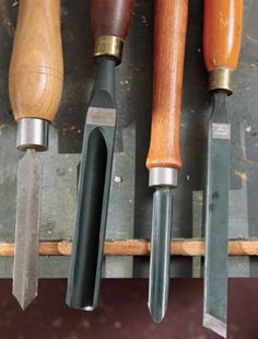 The Essential Tools for Spindle Turning - parting tools, roughing gouges, skew chisels, and spindle gouge.