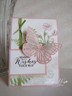 Stampin' Up! ... hand crafted card: Butterfly Basics ... pink and olive on white ... luv the vellum layer behind the lacy laer of the butterfly ...