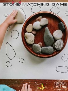 A simple stone activity to try today!  <br> Montessori Activities, Motor Activities, Infant Activities, Outdoor Preschool Activities, Montessori Education, Nature Activities, Montessori Toddler, Montessori Materials, Fun Activities For Kids