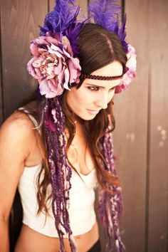 Purple Fairy Goddess Headdress As seen in by boho valkry! Boho Gypsy, Gypsy Style, Bohemian, 70s Style, Hippie Style, Festival Gear, Festival Fashion, Headpieces, Fascinators