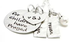 For this child I have prayed Necklace - Personalized Hand Stamped Jewelry Sterling Silver. $70.00, via Etsy.
