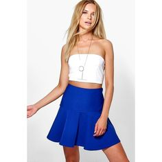 151cef0a6 Boohoo Night Amelie Wave Hem Flippy Skirt ($14) ❤ liked on Polyvore  featuring skirts, blue, body con skirt, swing skirt, white bodycon skirt,  rayon skirt ...
