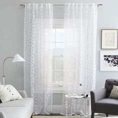 Master Bed with White Cotton Curtain, Rosette Tile Burnout Curtain – White White Cotton Curtains, Sheer Curtains, Front Door Curtains, Bunk Beds Built In, Interior Decorating, Interior Design, Decorating Ideas, Decor Ideas, Living Room Inspiration