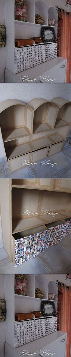 Cardboard passion by Tatiana Marge. Cardboard Storage, Cardboard Paper, Cardboard Crafts, Diy Storage, Storage Boxes, Cardboard Playhouse, Furniture Making, Furniture Decor, Fireplace Furniture
