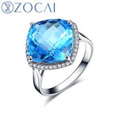 New Arrival ZOCAI Clear blue Topaz Gemstone jewelry 7.0 ct certified Topaz ring 0.18 ct diamond 18K white gold Topaz ring W05540 #Affiliate