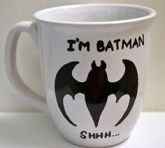 I am Batman Shh Quote Coffee Mug Hand Illustrated For Sheldon and Batman Lovers, White 12 oz Diy Mugs, Personalized Coffee Mugs, Sharpie Mugs, Sharpies, I Am Batman, Batman Stuff, Cute Mugs, Coffee Quotes, Hand Illustration