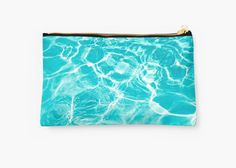 Blue studio pouch with pool water aqua by EllenSmilePhoto on Etsy