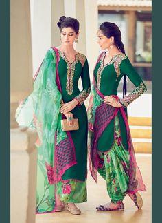Catchy Green Digital Print Work Designer Suit