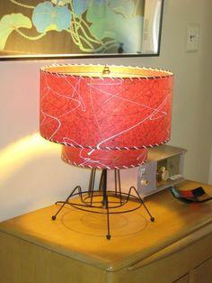 Vintage 50s Atomic Star Laundry Basket Hamper Pink White Mid