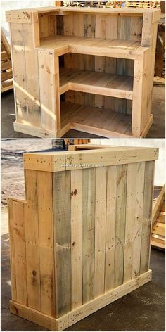 This wood pallet creation do look unique but at the same time many of the house makers are confuse with its utilization. This square shaped pointed structure creation of the wood pallet counter Pallet Counter, Wood Pallet Bar, Diy Pallet Sofa, Wooden Pallet Projects, Pallet Crafts, Diy Pallet Furniture, Pallet Ideas, Furniture Plans, Outdoor Furniture