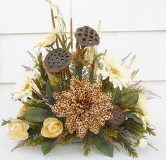Safari Silk Flower Arrangement Table by FlowersandFrills on Etsy Safari Centerpieces, Table Centerpieces, Magnolia Wreath, Valentines Flowers, Cabbage Roses, Silk Flower Arrangements, Funeral Flowers, Touch Of Gold, Champagne Color