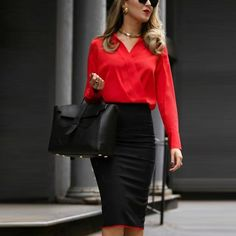 Autumn And Winter Professional Color Matching Overlap Dress Bag Hip Skirt Bodycon Dress Business Casual Attire, Business Dresses, Classy Outfits, Casual Outfits, Work Outfits, Classy Clothes, Casual Clothes, Red Dress Casual, Professional Dresses