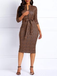 Material: Twilled Satin Silhouette: Bodycon Dress Length: Knee-Length Sleeve Length: Three-Quarter Sleeve Neckline: V-Neck Combination Type: Single Waist Line: High-Waist Closure: Pullover Elasticity: High Elasticity Detachable Collar: No With Belt: No Pa African Print Fashion, African Fashion Dresses, African Dress, African Attire, Fashion Outfits, Dress Fashion, Womens Fashion, Fashion Trends, Classy Dress