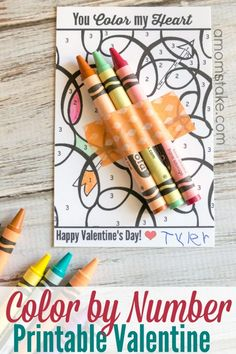 Inexpensive printable valentine? Check! Pick up a box of 98 crayons for $5 and print out this adorable color by number activity valentine's day card and you have enough for the classroom!
