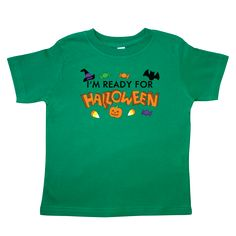 I'm #Ready #for #Halloween #Toddler T-Shirt featuring #fun halloween decorations such as #candy, #bats, #jack-o-lantern and a #witches #hat. Perfect for the person in your life who just can't wait for Halloween!  www.inktastic.com