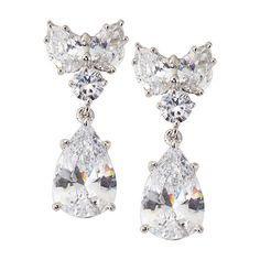 Fantasia By DeSerio Cluster-Top Pear-Drop CZ Earrings ($320) ❤ liked on Polyvore featuring jewelry, earrings, white jewelry, cubic zirconia jewelry, cluster jewelry, post earrings and cz earrings