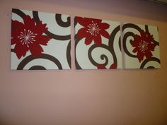 Fabric Wall Art Hanging Red Brown White Funky Retro Designer Cotton Canvas-weight Tryptich Picture. $55.00, via Etsy.