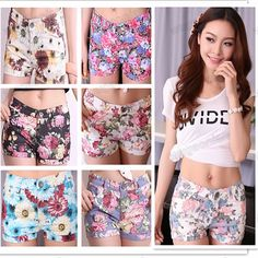 Hot Sale!Women's Flowers Floral Print Elastic Jean Style Mini Sexy Short  Pants  S,M,L Free Shipping 1pcs/lot-in Shorts from Apparel & Acces...