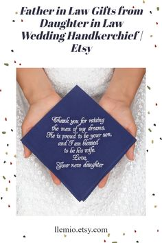 Father in Law Gifts from Daughter in Law Wedding Handkerchief   Etsy Wedding Gifts For Parents, Best Wedding Gifts, Father In Law Gifts, Father Of The Bride, Spring Wedding, Wedding Day, Bride And Groom Gifts, Wedding Handkerchief, Parent Gifts