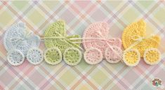 Crochet baby stroller applique